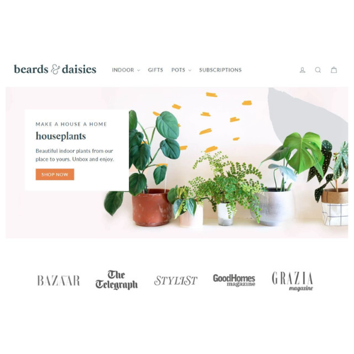 A screenshot of the Beards and Daisies website homepage, shown to illustrate how you can make your online shop better.