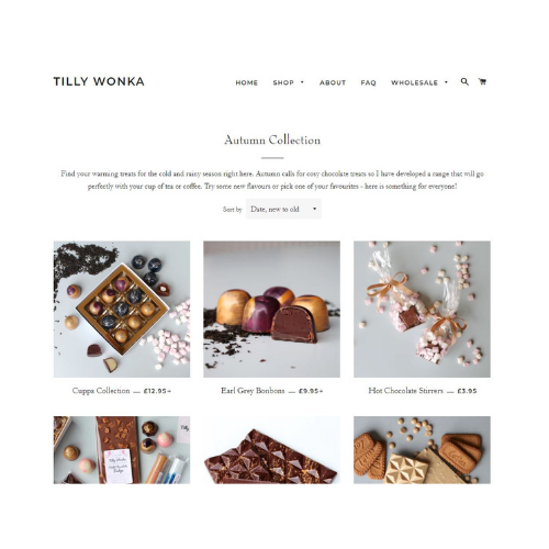 A screenshot of the Tilly Wonka homepage, shown as an example of how you can make your online shop better.