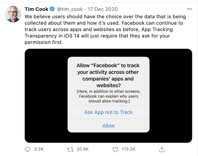 Tim Cooke on iOS14 and Facebook advertising